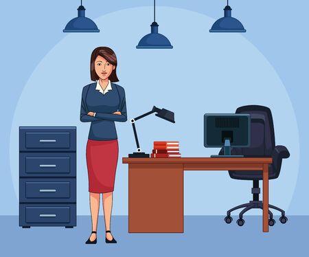 cartoon woman secretary at office, colorful design , vector illustration