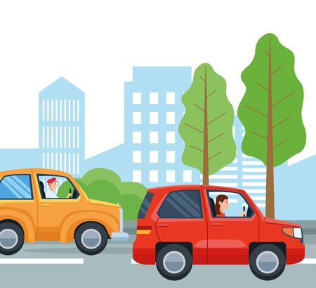 People driving cars design, transportation drive travel traffic speed road and theme Vector illustration