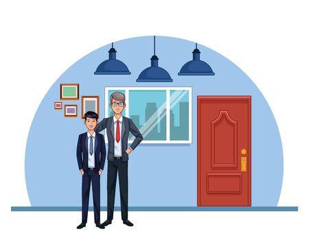 adult businessman and young businessman at office scenery background, colorful design , vector illustration Ilustração