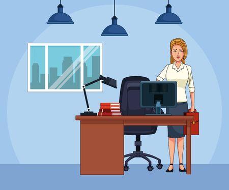 cartoon businesswoman at office desk, colorful design , vector illustration