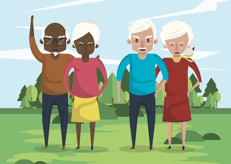 group of interracial grandparents couples in the field vector illustration design
