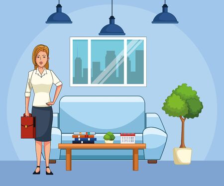 cartoon businesswoman at office living room, colorful design , vector illustration