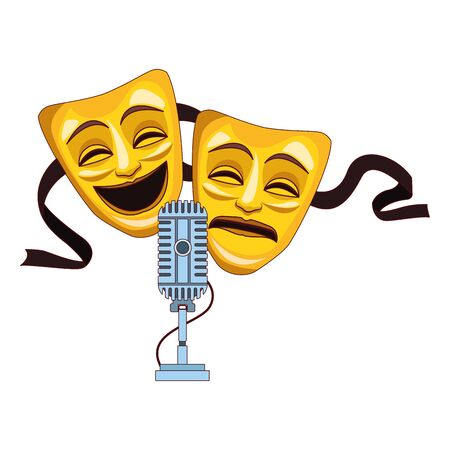 comedy and tragedy theater masks icon over white background, vector illustration
