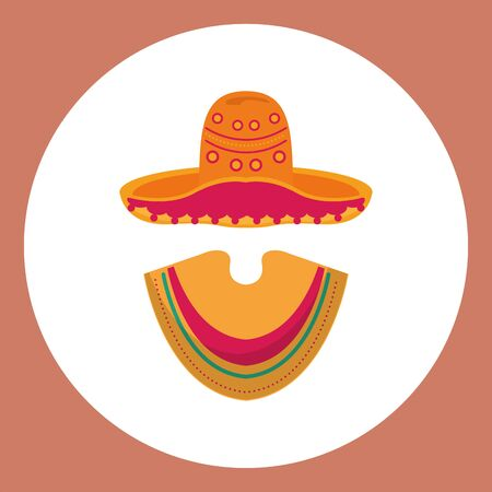 mexican culture hat with poncho vector illustration design
