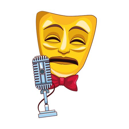 theater mask and microphone icon over white background, colorful design, vector illustration