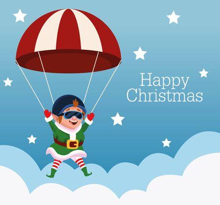 merry christmas card with elf in parachute vector illustration design Standard-Bild - 138160587