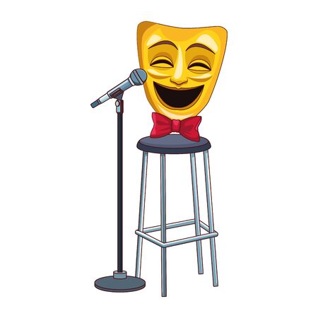 comedy theater mask on bar stool and stand microphone icon over white background, vector illustration Ilustração