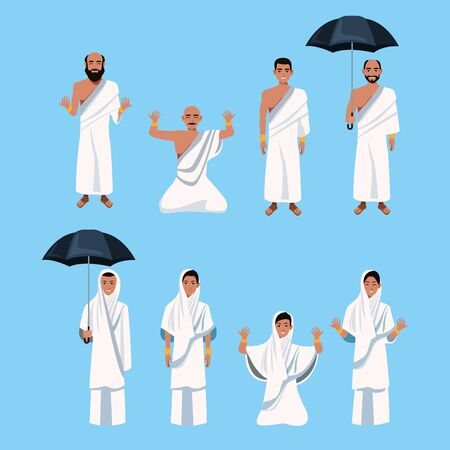 group of islamic persons characters vector illustration design