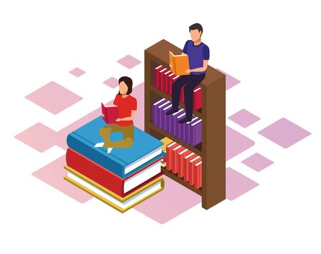 bookshelf and woman and man reading books over white background, colorful isometric design, vector illustration