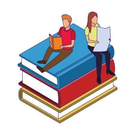 stack of books with people reading over white background, vector illustration Ilustrace