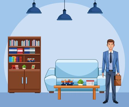 cartoon businessman at office workplace over blue background, colorful design , vector illustration