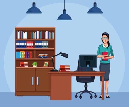 cartoon businesswoman at office, colorful design , vector illustration