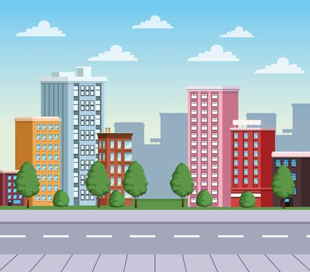 buildings cityscape with road urban scene vector illustration design Banque d'images - 138167074