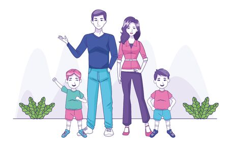 parents couple with sons family characters vector illustration design