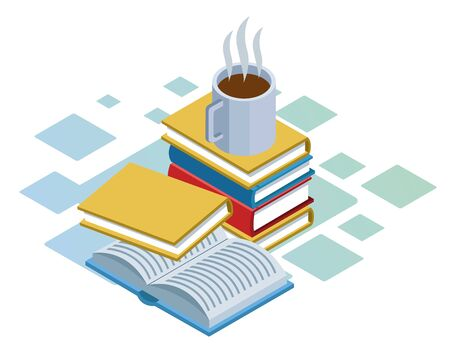 isometric design of books and coffee mug over white background, vector illustration Ilustrace