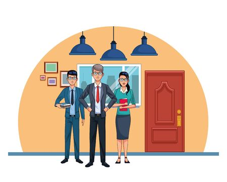 business people at office scenery background, colorful design , vector illustration