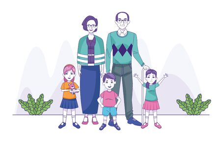 grand parents couple with kids family characters vector illustration design