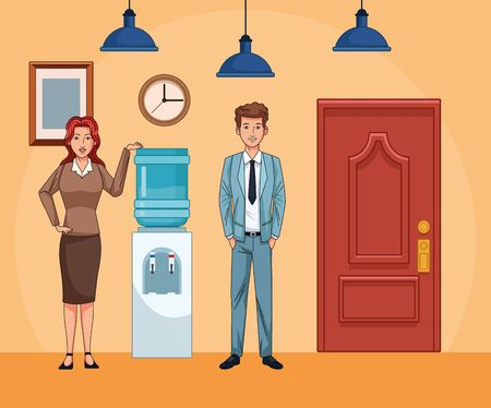 businesswoman and businessman next to water dispenser at office scenery background, colorful design , vector illustration