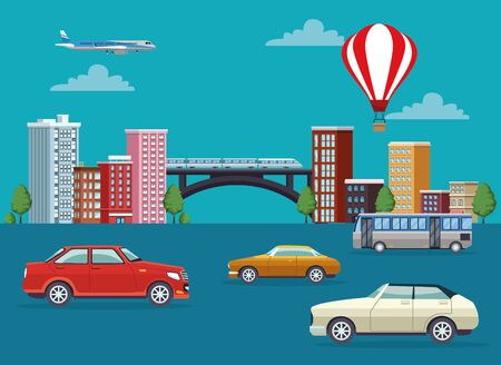 buildings cityscape with means of transport vector illustration design Banque d'images - 138170309