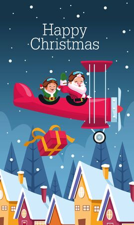 merry christmas card with santa claus and elf in airplane vector illustration design