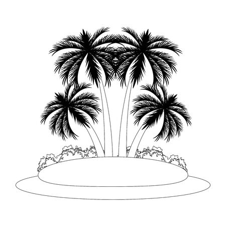 island with palms icon over white background, vector illustration