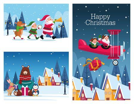 bundle of merry christmas cards vector illustration design Standard-Bild - 138172712