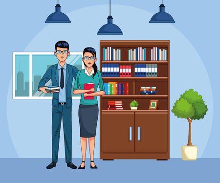 cartoon business couple at office scenery, colorful design , vector illustration Ilustração