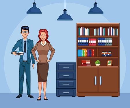 cartoon business man and woman at office scenery, colorful design , vector illustration Ilustração