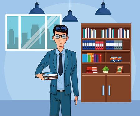young businessman at office workplace, colorful design , vector illustration