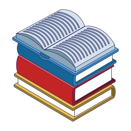 stack of academic books over white background, vector illustration Ilustrace