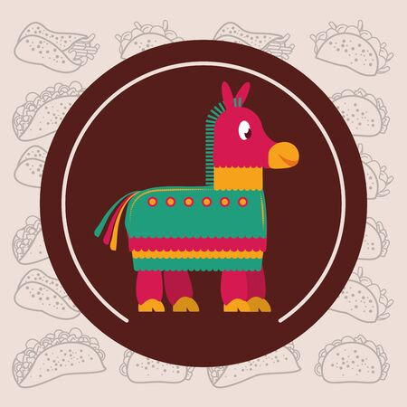 mexican culture pinata seal stamp vector illustration design