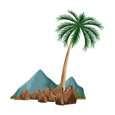 rocks and palm icon over white background, vector illustration
