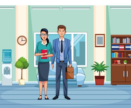 business woman and man standing at office scenery background, colorful design , vector illustration