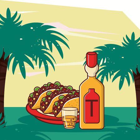 delicious tacos mexican food with tequila bottle vector illustration design Ilustração