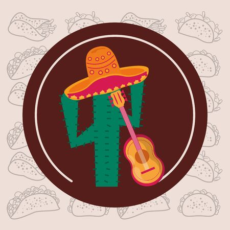 cactus plant with guitar and hat mexican culture vector illustration design
