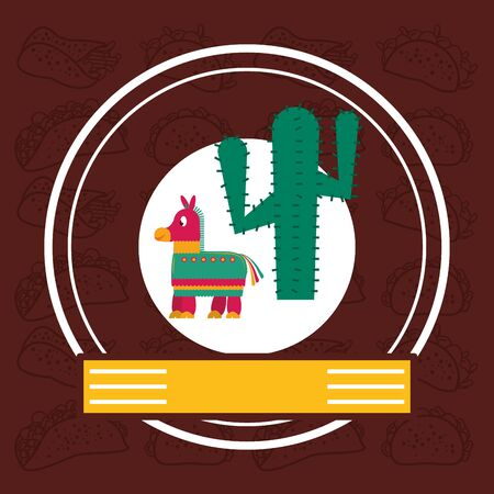 cactus plant and pinata mexican culture vector illustration design Ilustrace