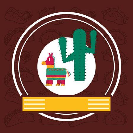 cactus plant and pinata mexican culture vector illustration design Illustration