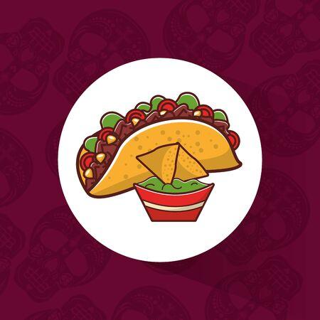 Delicious mexican nachos traditional food line style vector illustration  design.