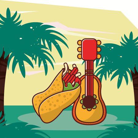 delicious burrito mexican food with guitar vector illustration design Ilustração