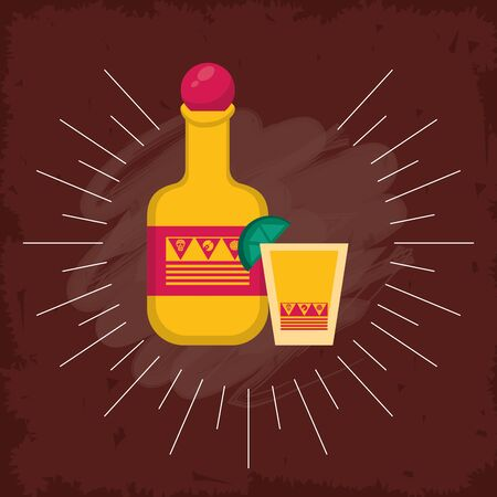 mexican tequila bottle and cup cocktail vector illustration design