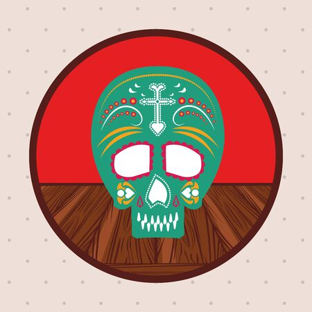 mexican skull mask culture in wooden table vector illustration design Ilustrace