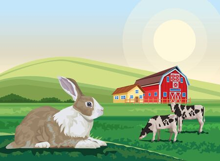 cows and rabbit in the landscape scene vector illustration design
