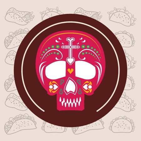 mexican skull mask culture fill style icon vector illustration design