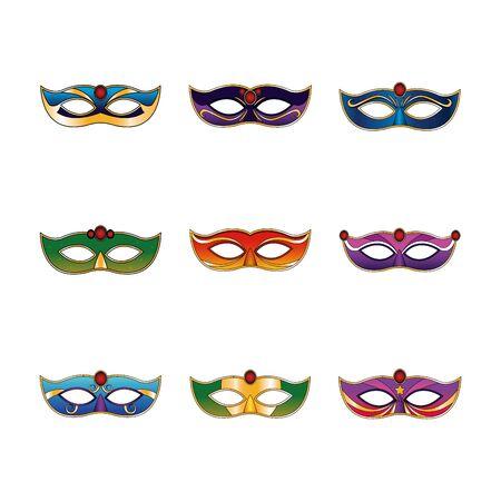 icon set of carnival masks over white background, vector illustration