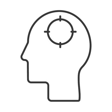 human profile head with target vector illustration design