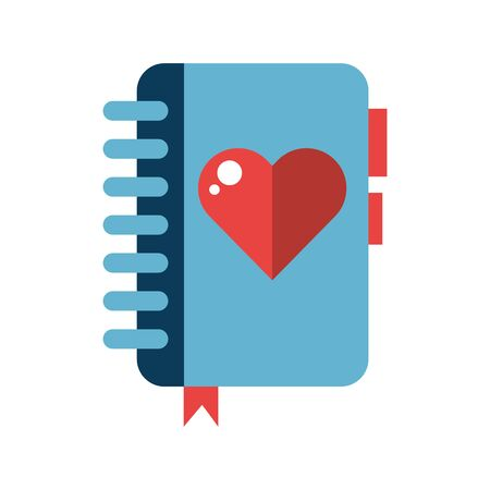 happy valentines day heart in diary vector illustration design Illustration