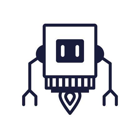robot floating cyborg isolated icon vector illustration design