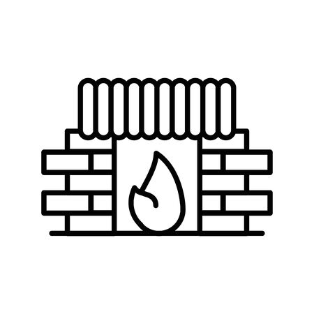 chimney house with flame icon vector illustration design Banque d'images - 138201775