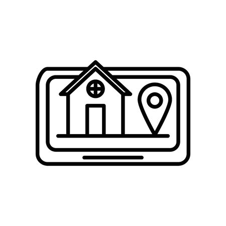 house front facade in smartphone and gps app vector illustration design