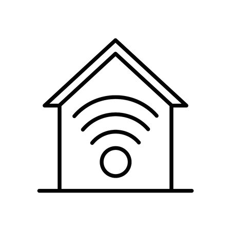 house front facade with wifi signal vector illustration design